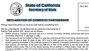 Notarized Declaration of Domestic Partnership